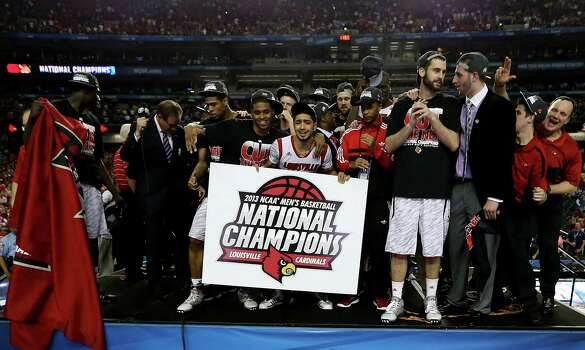 Louisville 82, Michigan 76Road to Atlanta: Look back at the full March Madness bracketLive updates: Follow all the Final Four actionATLANTA, GA - APRIL 08:  Peyton Siva #3 (C) of the Louisville Cardinals celebrates with his teammates after they won 82-76 against the Michigan Wolverines uring the 2013 NCAA Men's Final Four Championship at the Georgia Dome on April 8, 2013 in Atlanta, Georgia. Photo: Streeter Lecka, Getty Images / 2013 Getty Images