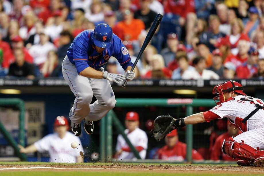 PHILADELPHIA, PA - APRIL 08:  Lucas Duda #21 of the New York Mets jumps out of the way of a pitch in the second inning of the game against the Philadelphia Phillies at Citizens Bank Park on April 8, 2013 in Philadelphia, Pennsylvania. Duda was hit by the pitch. (Photo by Brian Garfinkel/Getty Images) Photo: Brian Garfinkel