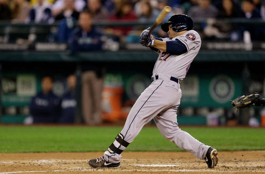 Astros second baseman Jose Altuve grounds into a force out in the fifth inning. Photo: Ted S. Warren, Associated Press / AP