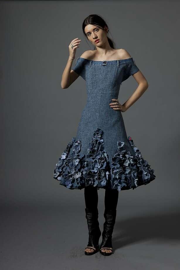 Dawn Castel's denim off-the-shoulder Fleurs Bleues cocktail dress. Photo: Discarded To Divine