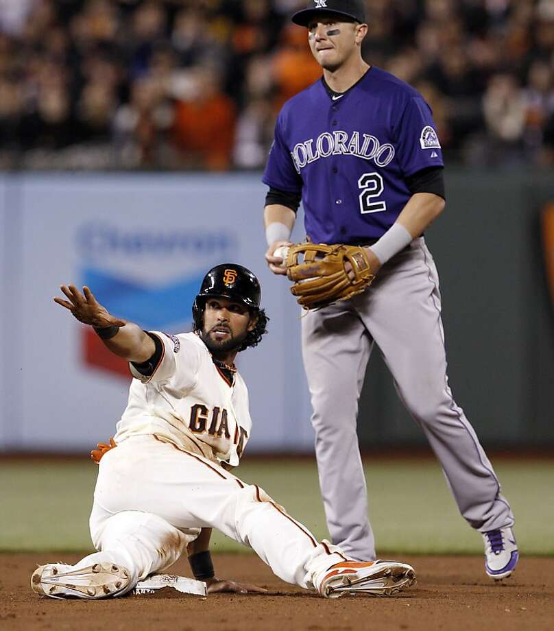 Angel Pagan calls for time after stealing second in the eighth. The San Francisco Giants played the Colorado Rockies  at AT&T Park in San Francisco on Monday, April 8, 2013, and won 4-2. Photo: Carlos Avila Gonzalez, The Chronicle