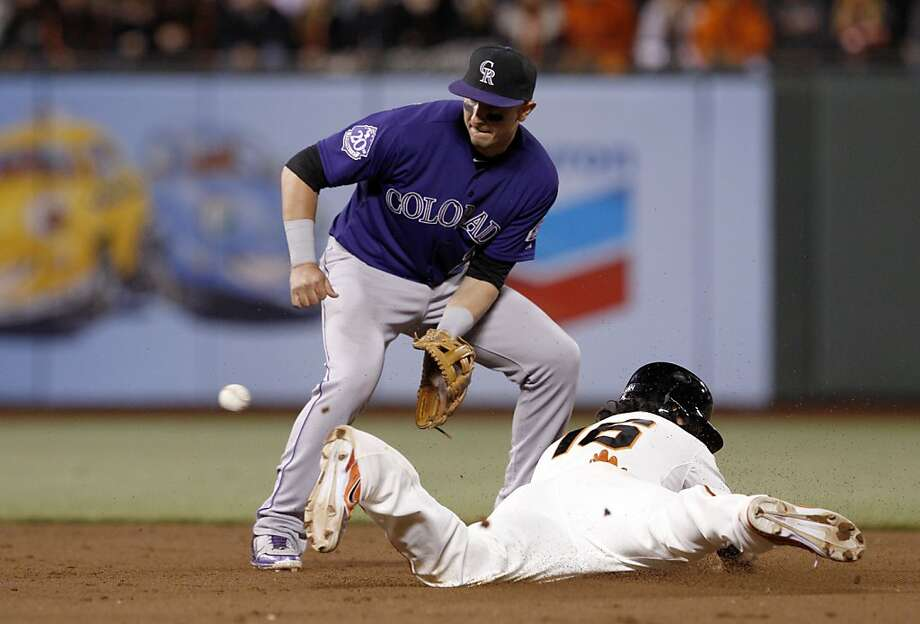 Troy Tulowitzki waits for the throw as Angel Pagan steals second in the eighth inning. The San Francisco Giants played the Colorado Rockies  at AT&T Park in San Francisco on Monday, April 8, 2013, and won 4-2. Photo: Carlos Avila Gonzalez, The Chronicle