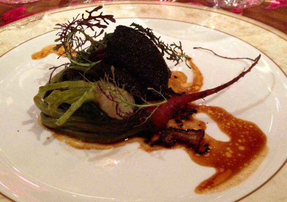 Jeff Cerciello\'s five spiced beef cheeks with turnips, ong choy and black sesame seed vinaigrette