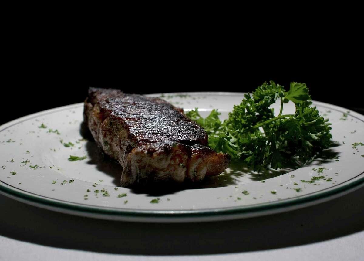 A New York strip steak at The Palm restaurant Thursday, Nov. 5, 2009.