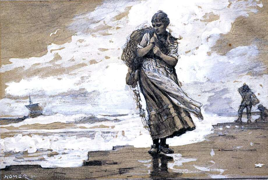 Winslow Homer (American, 1836–1910), Fisher Girl with Net, 1882. Graphite, gouache, and gray wash on gray laid paper, 11 3/8 x 19 1/4 in. (28.9 x 48.9 cm). Sterling and Francine Clark Art Institute, Williamstown, Massachusetts, 1955.1485