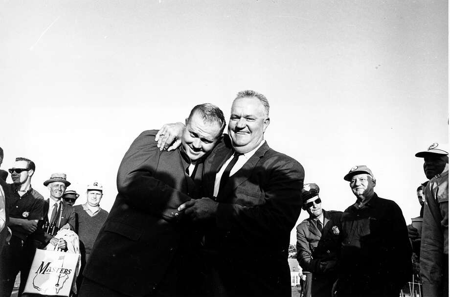 Jack Nicklaus, left, gets a big hug from his father, Charles Nicklaus, after winning the Masters Golf Tournament in Augusta, Ga. on April 7, 1963. Photo: Associated Press / AP1963