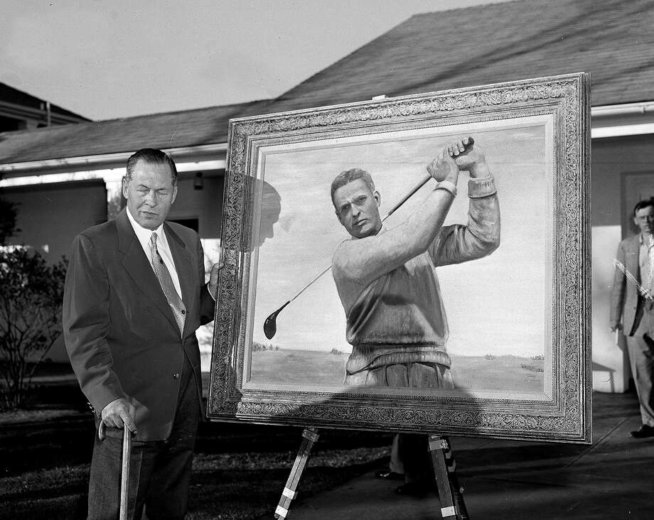 Bobby Jones poses with a portrait of himself that President Dwight Eisenhower painted.   The painting was presented February 28, 1950 at the Augusta National Golf course, at Augusta, Ga. Photo: Anonymous, Associated Press / 1953 AP