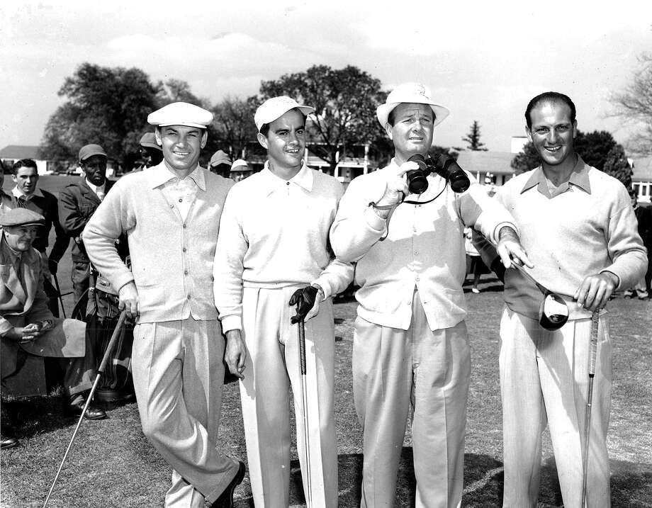 Four competitors survey the Augusta National Golf Club course as they start a practice round in preparation for the 15th annual Masters Golf Tournament in Augusta, Ga. on April 4, 1951.  From left, Ben Hogan, Hershey, Pa., Juan Seguar, Buenas Aires, Argentina, Jimmy Demaret, Ojai, Ca., three time winner of the Masters title and defending champion, and Roberto de Vicinzo, Buenos Aires, Argentina. Photo: Associated Press / AP1951