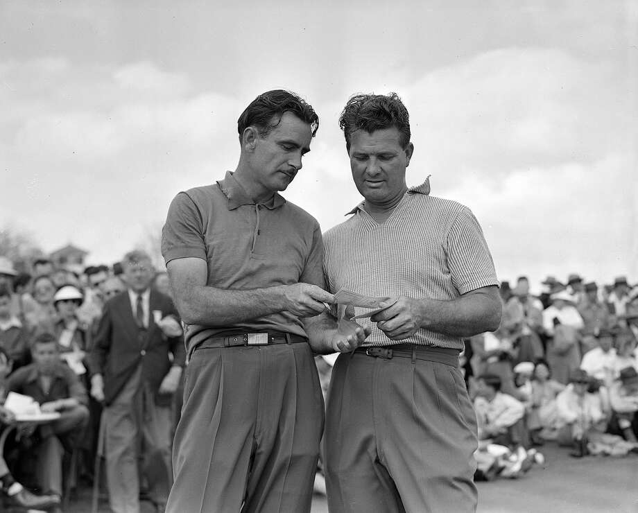 Jimmy Demaret, right, and Lloyd Mangrum check scores after completing the third round of the Masters Golf tournament at Augusta, Ga., April 5, 1947. Photo: RUDOLPH FAIRCLOTH, Associated Press / 1947 AP