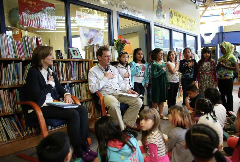 Caroline Kennedy Schlossberg listens to poetry recited by students at West Seattle's Sanislo Elementary School. Photo: JOSHUA TRUJILLO / SEATTLEPI.COM