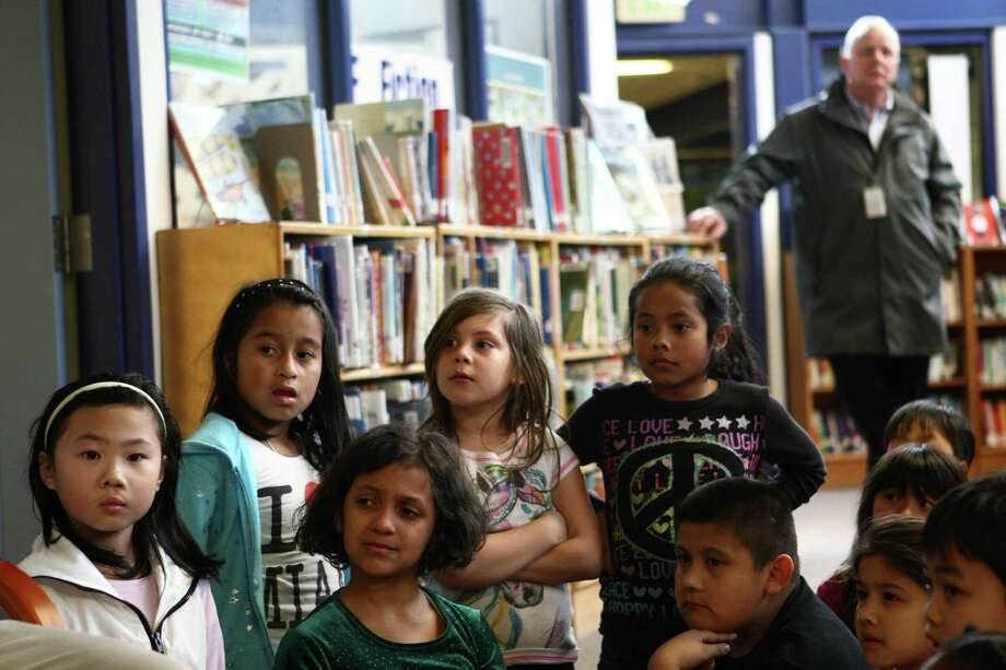 Students listen to Caroline Kennedy Schlossberg, daughter of President John F. Kennedy, at West Seattle's Sanislo Elementary School. Photo: JOSHUA TRUJILLO / SEATTLEPI.COM