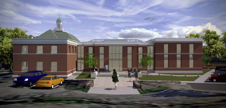 A view of a possible look for the new town hall from Vine Cottage from a March 27 presentation by KSQ Architects. Photo: File Photo