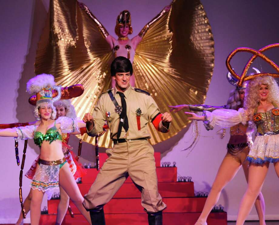 "Chris Berry (center) appears in ""Springtime for Hitler"" in the Woodlawn Theatre's staging of ""The Producers."" Photo: Courtesy Woodlawn Theatre"