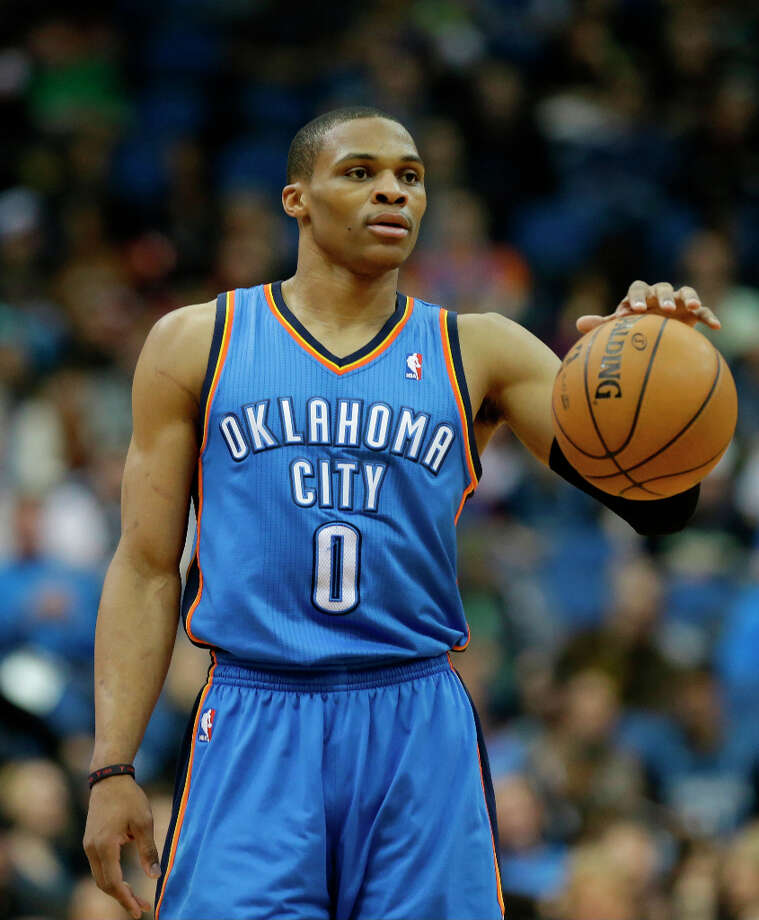 13. Russell Westbrook  The enigmatic Oklahoma City Thunder point guard is averaging 23.4 points this season. Photo: Jim Mone