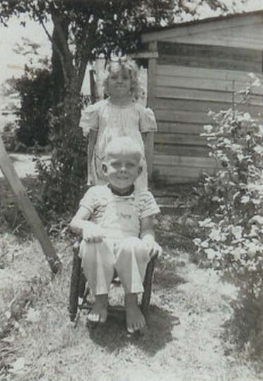 Then: May, 1948 - Kenneth Dale Hicks, 4 years old, and Doris Jo Hicks, 7 years old, outside t