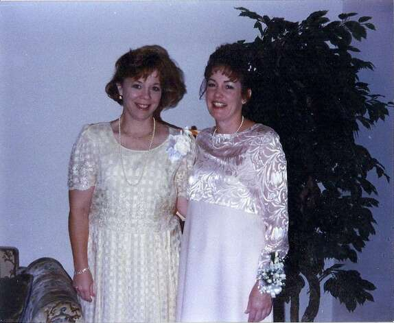 Then: From left to right are Robin Sellman and Nancy Jones at Nancy's wedding in June 1998.  Robin introduced Nancy and her husband, Scott, and helped them have their first date.  Robin was Nancy's matron of honor.  This picture was taken at Faith Lutheran Church in Beeville, Texas. Photo: Courtesy Photos