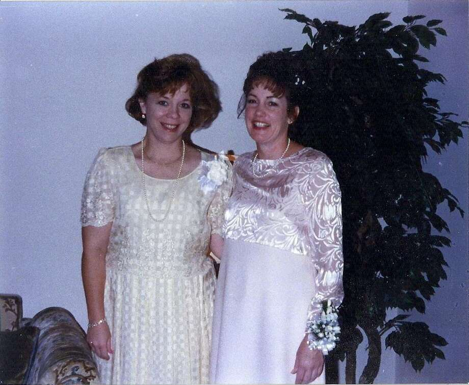 Then:From left to right are Robin Sellman and Nancy Jones at Nancy's wedding in June 1998.  Robin introduced Nancy and her husband, Scott, and helped them have their first date.  Robin was Nancy's matron of honor.  This picture was taken at Faith Lutheran Church in Beeville, Texas. Photo: Courtesy Photos