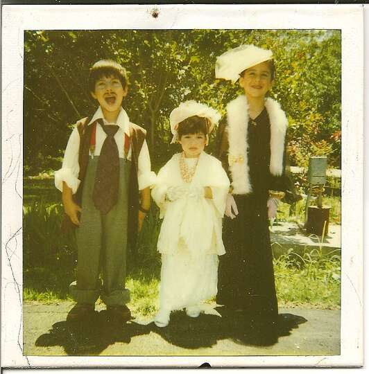 Then: Joshua age 5, Chelsea age 3, Marisa age 7, dressed up for a Tea Party in our front yard