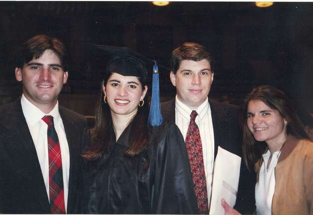 Then: Brothers and sisters from left, Steve Chisholm, Monica (Clarke), Rod Chisholm and Jennifer (Hughes). This picture was taken in May 1997 in Milwaukee, WI at Monica's graduation from Marquette University. Photo: Courtesy Photos