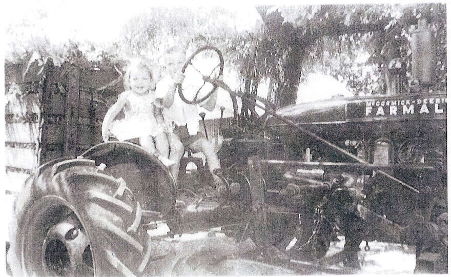 Then: Brother and Sister, Ben and Carolyn Heinimeyer, taken in Geronimo, Texas, in 1944. Ben