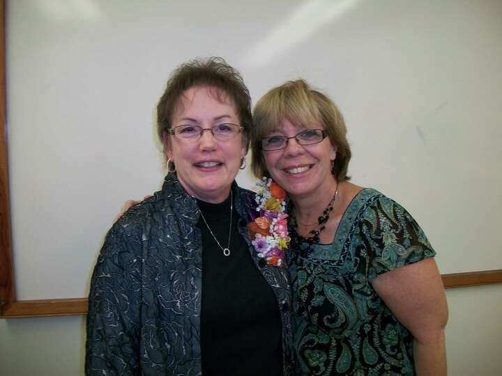 Now: From left to right are Nancy and Robin in January 2013 at Nancy's retirement from public