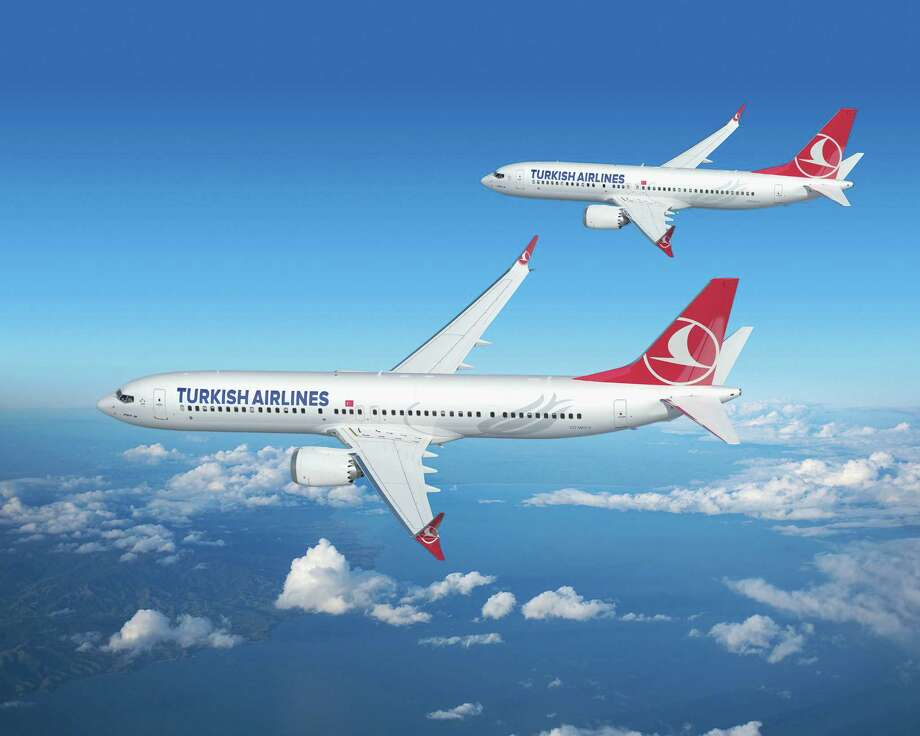 Boeing 737 MAX 8 and 737 MAX 9 aircraft for Turkish Airlines are shown in this artist's depiction. Photo: The Boeing Co.