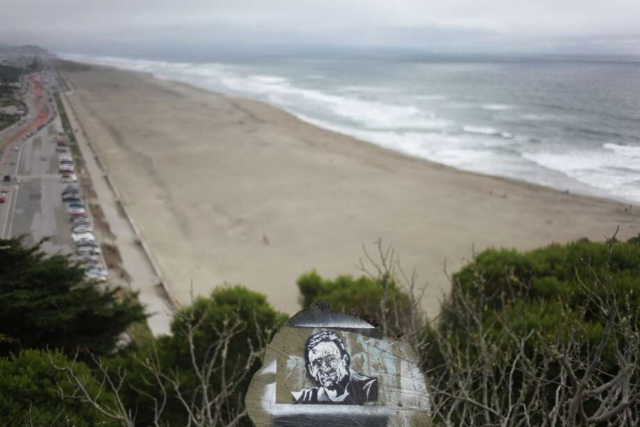 A graffito on a stump is seen looking south from Sutro Heights on April 2, 2013 in San Francisco, Calif. Photo: Pete Kiehart, The Chronicle / ONLINE_YES