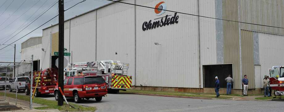 A burning piece of metal was the cause of a fire and a building partially filled with smoke Tuesday around lunchtime at the Ohmstede facility on N Main Street.  Due to the size and nature of the facility, a minimum of five Beaumont Fire Department trucks had to respond filling up Hazel street in front of the building. Dave Ryan/The Enterprise