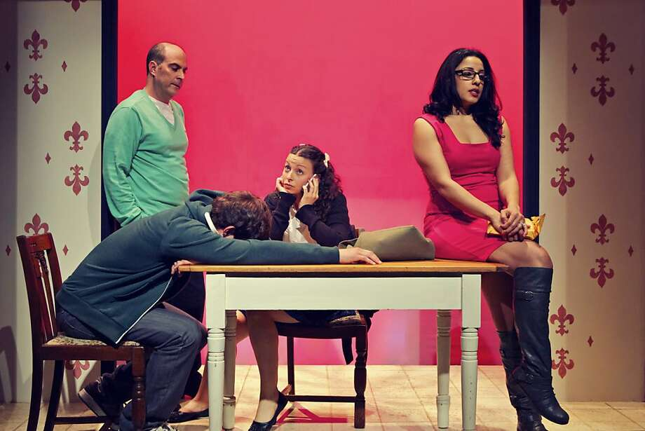"Lawrence Radecker (back left), Josh Schell, Olivia Rosaldo and Denmo Ibrahim in Thomas Bradshaw's comedic ""The Bereaved,"" about a family in crisis. Photo: Pak Han"