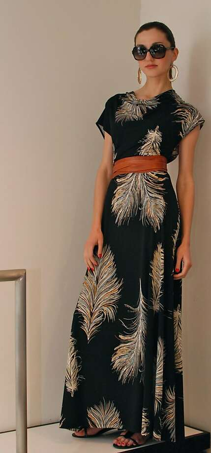 Saffron Rare Threads' feather print maxi dress ($185; belt sold separately), available at the San Francisco store. Photo: Saffron Rare Threads