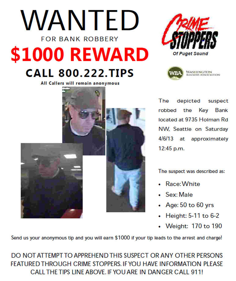 The wanted poster for the man who robbed the KeyBank at 9735 Holman Road Northwest on April 6, 2013.