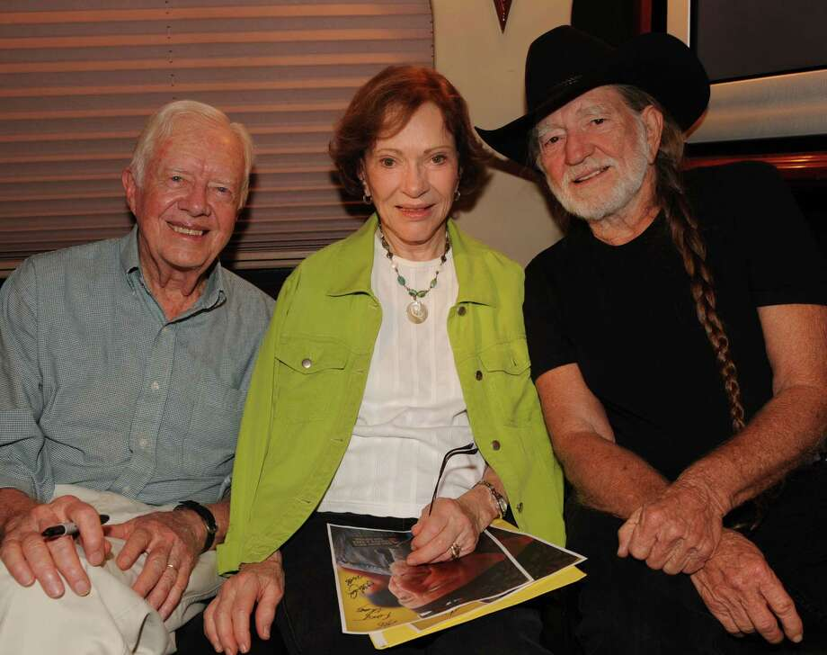 ***EXCLUSIVE COVERAGE***   Former President Jimmy Carter, Rosalynn Carter and Willie Nelson on Nelson's tour bus backstage at Chastain Park Amphitheater on July 27, 2008 in Atlanta, Georgia. ***Exclusive*** (Photo by Rick Diamond/WireImage) Photo: Rick Diamond, Getty / 2008 WireImage