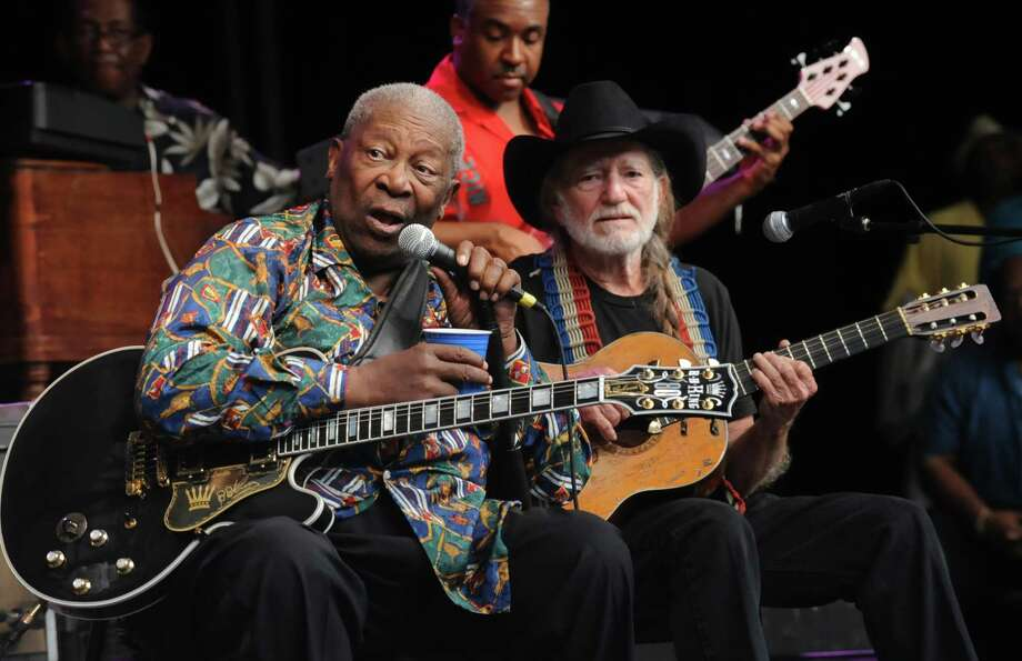 ***EXCLUSIVE COVERAGE***   B.B. King is joined by Willie Nelson onstage during B.B. King's set at Chastain Park Amphitheater on July 27, 2008 in Atlanta, Georgia. ***Exclusive*** (Photo by Rick Diamond/WireImage) Photo: Rick Diamond, Getty / 2008 WireImage