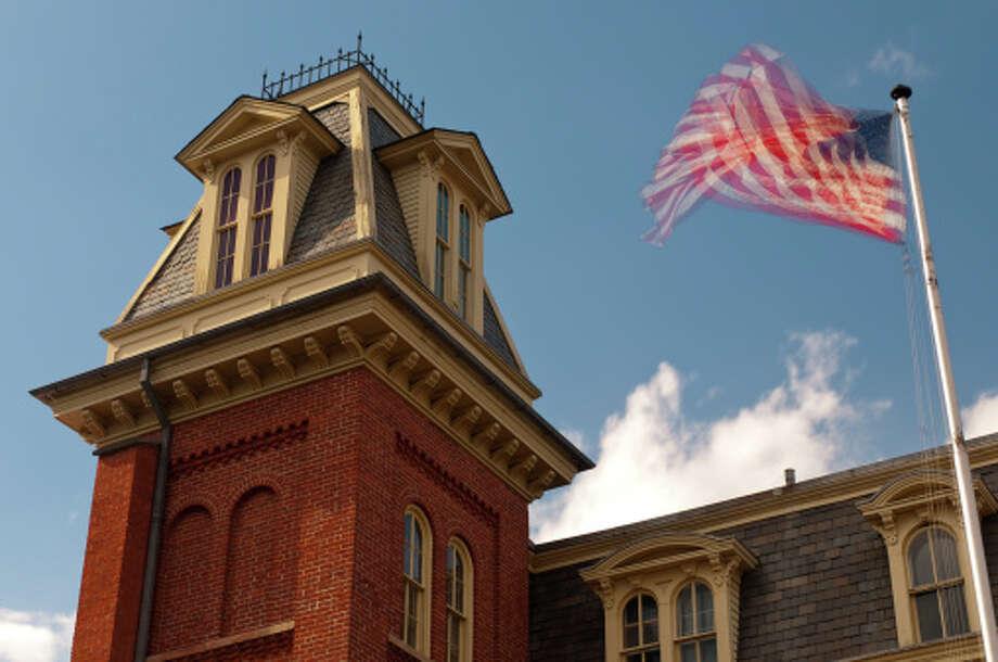 No. 16 (Tie): Danburyhas 94.5 men per 100 women.  Old Danbury Jail, flag, multiple exposure, Danbury, Connecticut Photo: Rick Gottschalk, Getty Images / (c) Rick Gottschalk