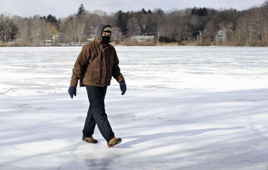 No. 26: New Fairfield has 99.2 men per 100 women.  Ben Marino, 21, of New Fairfield, walks on a frozen Ball Pond in New Fairfield, Wednesday, January 23, 2013.