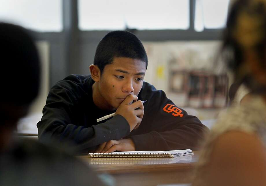 Freshman Casey Blas studies at Burton High, which offers extra support for freshmen. Photo: Brant Ward, The Chronicle