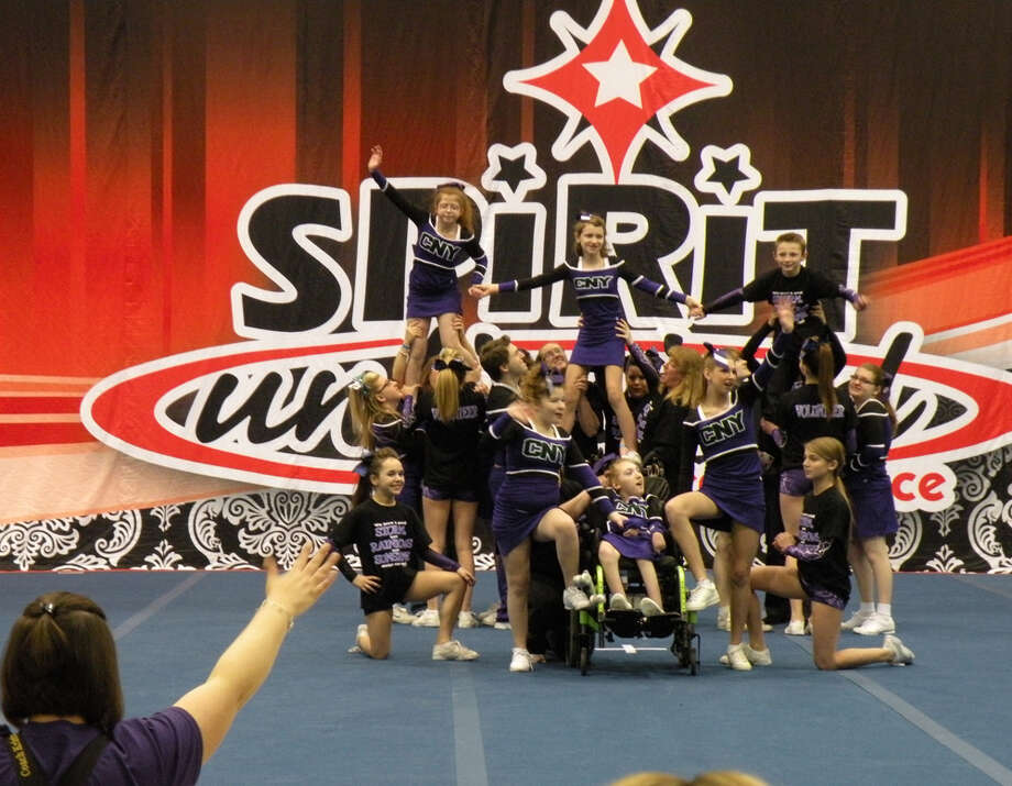 Members of the CNY Rainbows cheer team, at the Spirit Unlimited competition on Saturday, April 6, 2013, at University at Albany in Albany, N.Y. (Photo Courtesy Of Bernard Trombley)