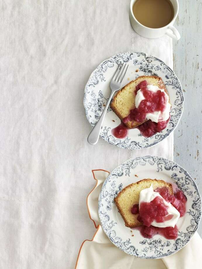 Country Living recipe for Sour-Cream Vanilla Pound Cake with Rhubarb Compote. Photo: Andrew Purcell
