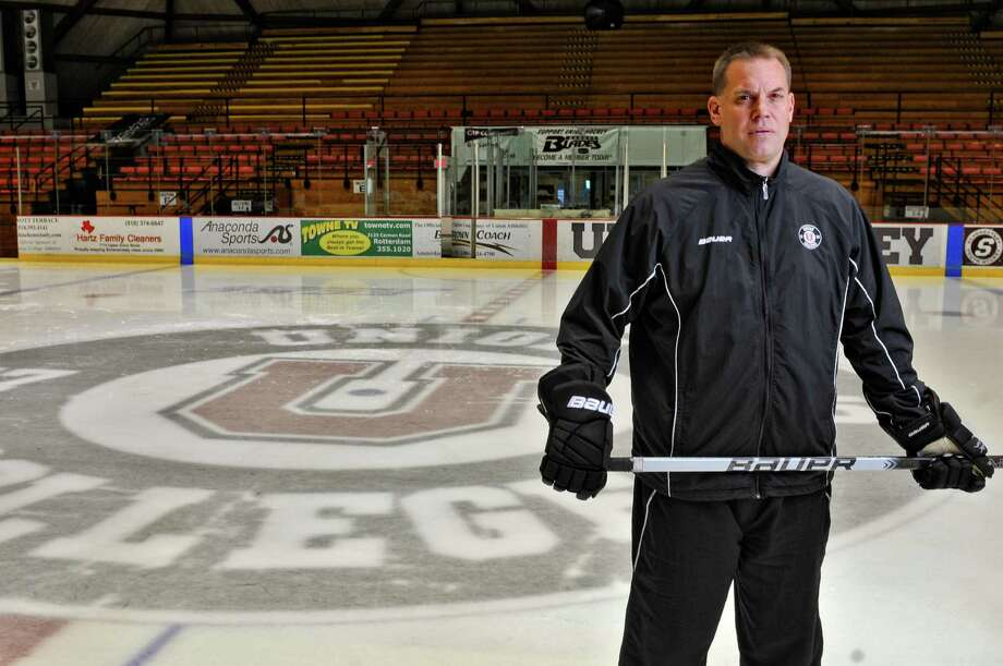 Union College men's hockey team head coach Rick Bennett during Media Day on Monday Oct. 1, 2012 in Schenectady, NY.(Philip Kamrass / Times Union) Photo: Philip Kamrass / 00019455A
