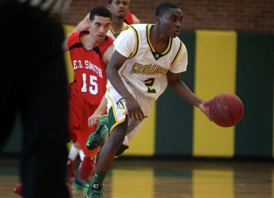 Trinity Catholic's Schadrac Casimir, Hearst Newspapers boys basketball MVP, will do a PG year at Kent School this fall. Photo: J. Gregory Raymond / Stamford Advocate Freelance;  © J. Gregory Raymond