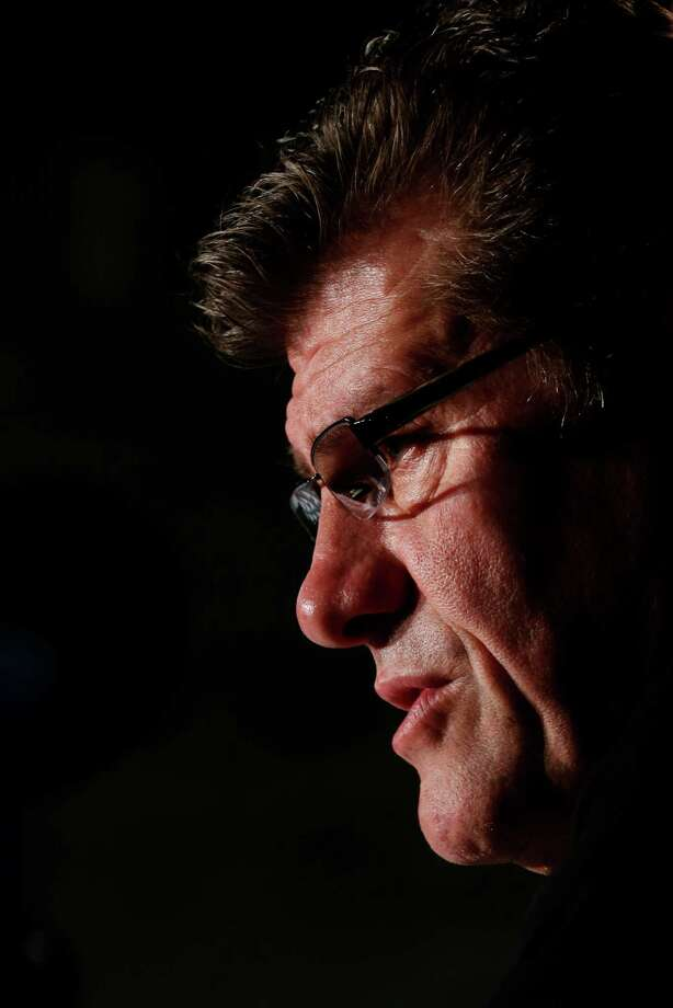 Connecticut head coach Geno Auriemma talks during a news conference for the women's NCAA Final Four college basketball tournament final, Monday, April 8, 2013, in New Orleans. UConn plays Louisville in the championship game on Tuesday.  (AP Photo/Dave Martin) Photo: AP