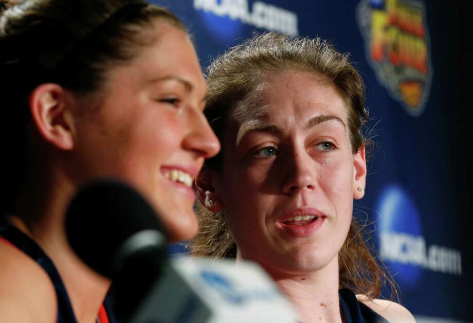 Connecticut's Stefanie Dolson, left,  and Breanna Stewart talk during a news conference for the women's NCAA Final Four college basketball tournament final, Monday, April 8, 2013, in New Orleans. UConn plays Louisville in the championship game on Tuesday.  (AP Photo/Dave Martin) Photo: AP