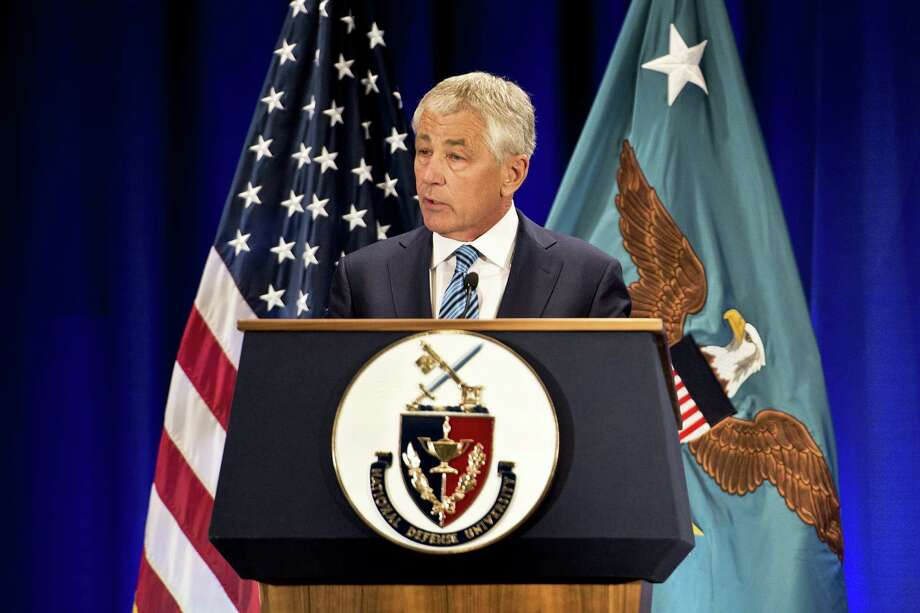 Defense Secretary Chuck Hagel discusses the strategic and fiscal challenges facing the Defense Department while speaking at the National Defense University on Fort McNair in Washington, D.C., April 3. Photo: DOD