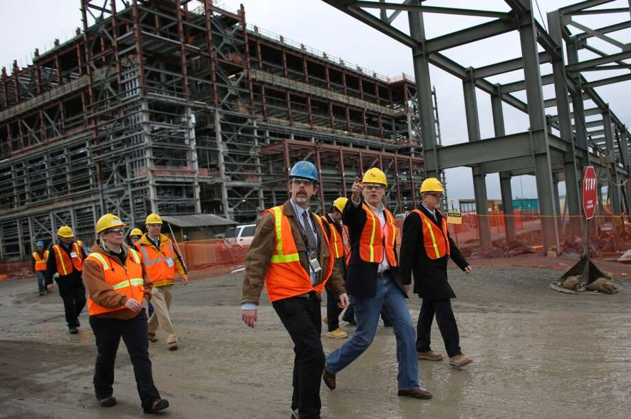 Washington Governor Jay Inslee, second from right, is given a tour of an under-construction nuclear waste treatment facility at Hanford Nuclear Reservation. (Joshua Trujillo, seattlepi.com)