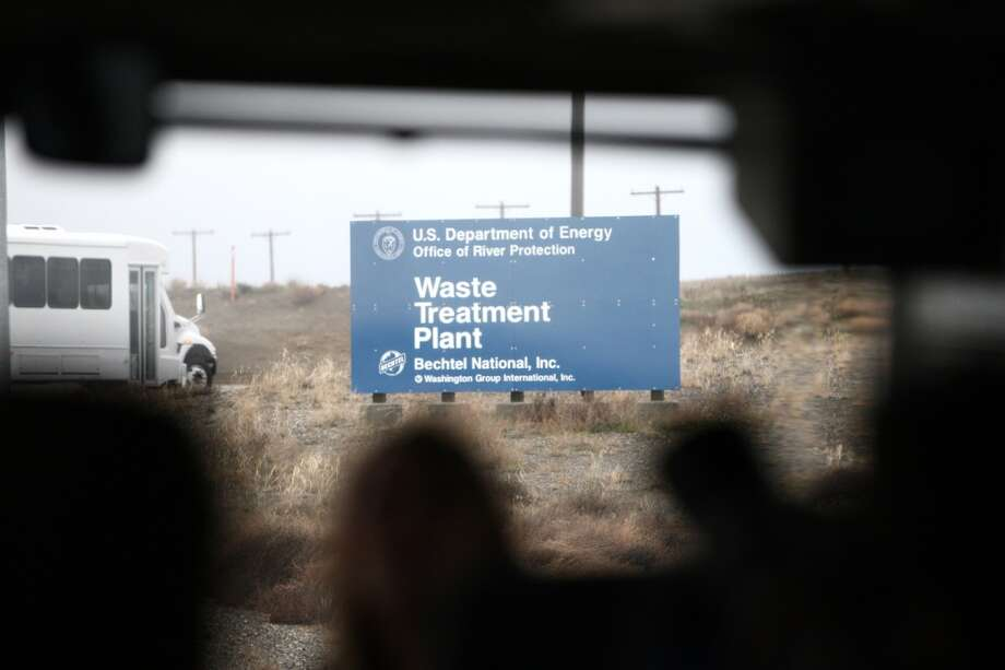 The currently under-construction Waste Treatment Plant sign is shown during a tour of the Hanford Nuclear Reservation near Richland. (Joshua Trujillo, seattlepi.com)