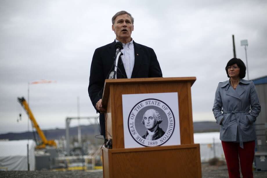 Governor Jay Inslee speaks during a press event at C-Tank Farm during a tour of the Hanford Nuclear Reservation near Richland. He announced plans to ship some of the material to New Mexico. (Joshua Trujillo, seattlepi.com)