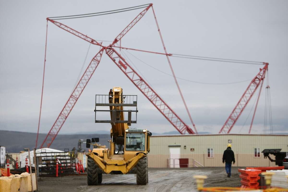 An under-construction waste treatment facility is shown during a tour of the Hanford Nuclear Reservation near Richland.