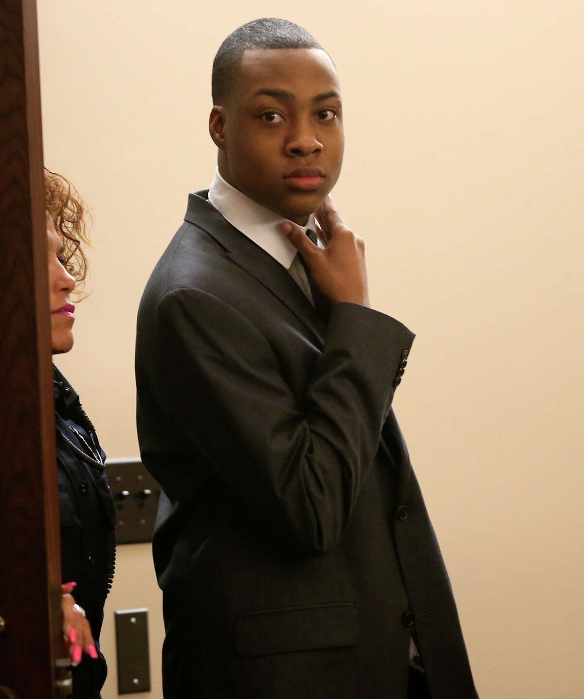 Anthony Johnson, 23, waits for the jury to return after reaching a verdict during his murder trial in the Bexar County 290th District Court, Tuesday, April 9, 2013. A few minutes later, Johnson was found guilty of killing local hip-hop artist, Rodrique Ngande, 21, in November 2011. The punishment phase of the trial will start on Wednesday.