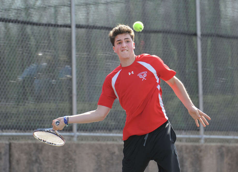 Zach Niklaus of Greenwich during his match against New Canaan's Tommy Worcester in the boys high school tennis match between Greenwich High School and New Canaan High School at Greenwich, Tuesday, April 9, 2013. Niklaus defeated Worcester and Greenwich won the match, 7-0. Photo: Bob Luckey / Greenwich Time