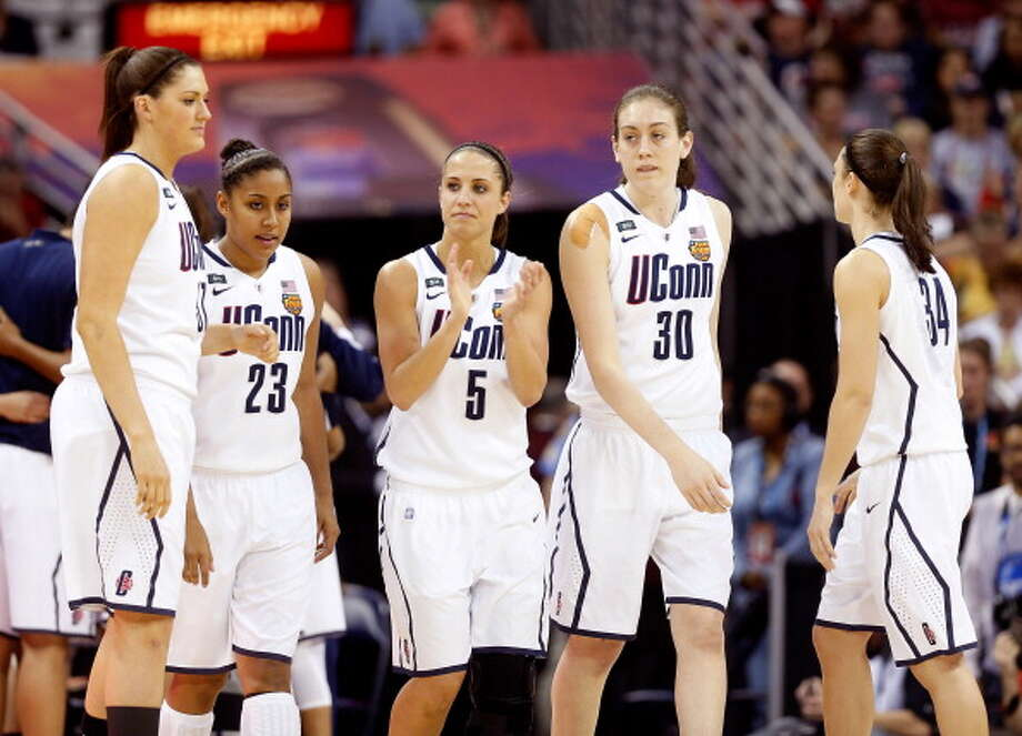 Stefanie Dolson #31, Kaleena Mosqueda-Lewis #23, Caroline Doty #5, Breanna Stewart #30 and Kelly Faris #34 of the Connecticut Huskies take the court against the Louisville Cardinals during the 2013 NCAA Women\'s Final Four Championship at New Orleans Arena on April 9, 2013 in New Orleans, Louisiana. Photo: Chris Graythen, Getty Images / 2013 Getty Images